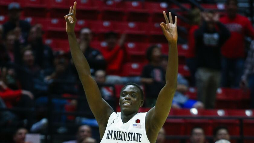 SDSU forward Ed Chang celebrates a 3 on Nov. 14 against Texas Southern.