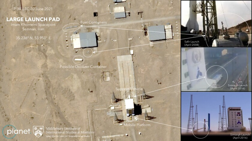 Satellite image of suspected planned rocket launch