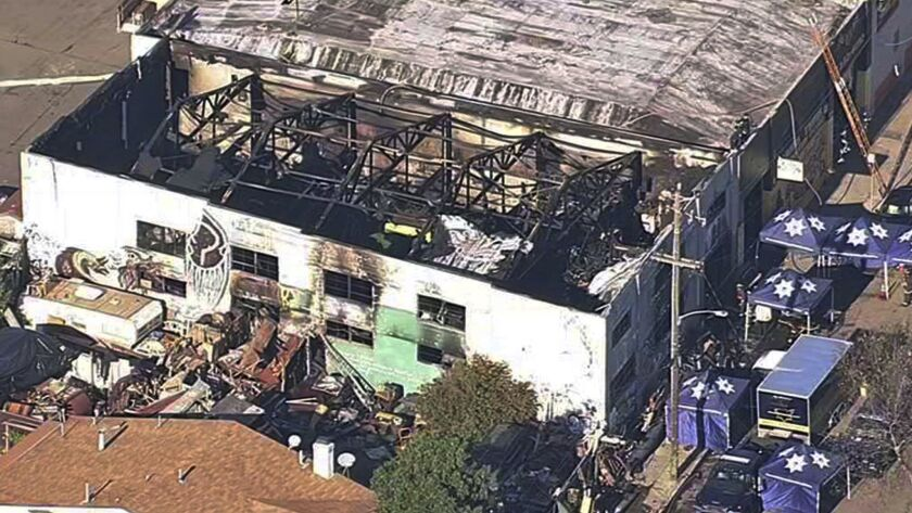 FILE - This Dec. 3, 2016 file image from video provided by KGO-TV shows the Ghost Ship Warehouse aft