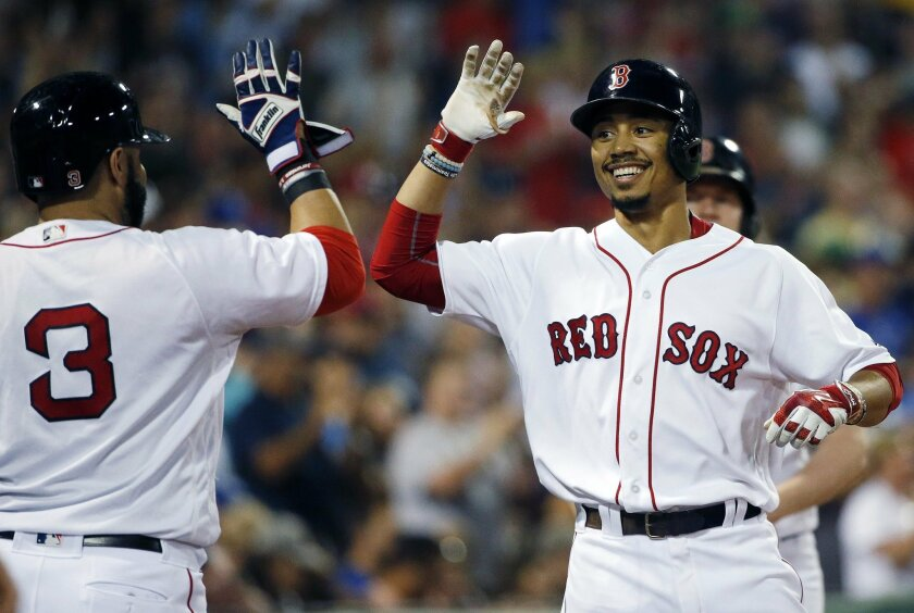 The Padres continue to discuss the possibility of a trade for Red Sox outfielder Mookie Betts.