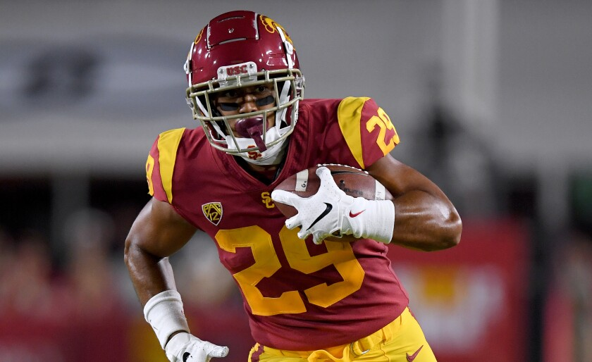 USC running back Vavae Malepeai runs after making a catch against Fresno State in the Trojans' season opener last month.