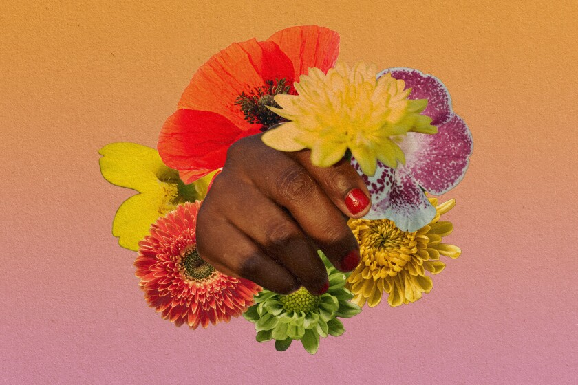 An illustration of a hand holding various flowers