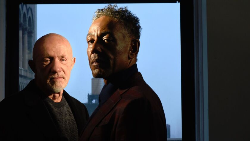 Jonathan Banks and Giancarlo Esposito at the AMC offices in New York.