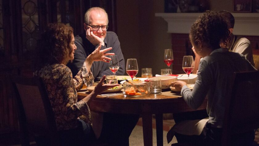 """In """"The Lovers,"""" a dinner of reckoning: from left, Debra Winger, Tracy Letts, Jessica Sula and, obsc"""