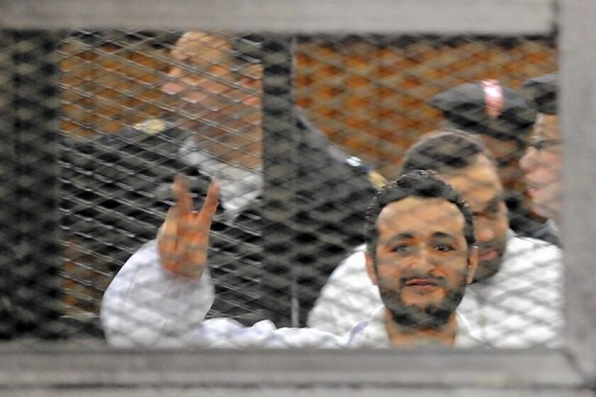Egyptian activist Ahmed Douma in Cairo court