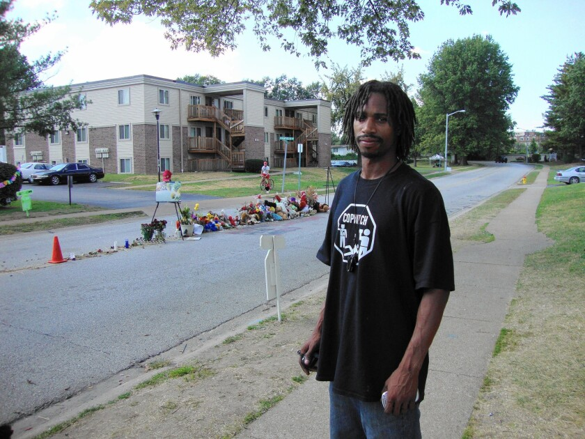 David Whitt, 34, is a recruiter for the Ferguson, Mo., chapter of Copwatch, which outfits volunteers with body cameras to record the actions of police.
