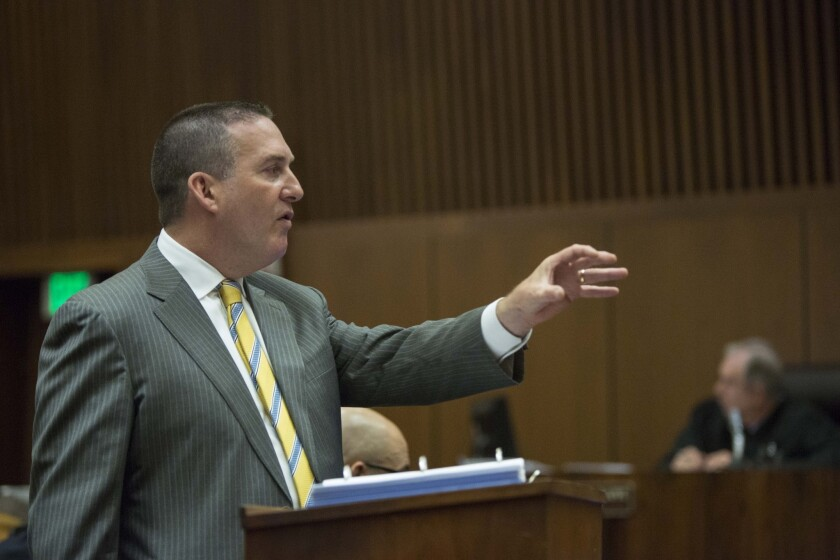 Deputy Dist. Atty. John Lewin makes his opening remarks Monday at the trial of Douglas Bradford, 62, who is charged in the slaying of Lynne Knight.