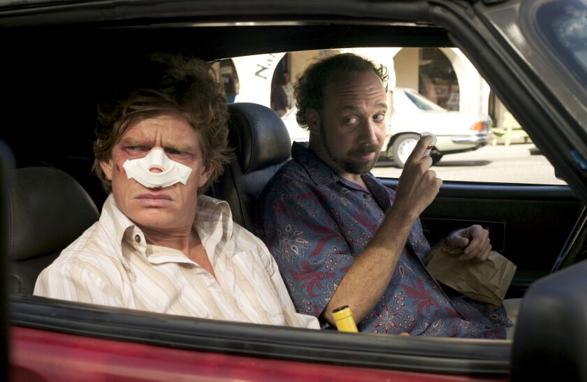"Thomas Haden Church, left, and Paul Giamatti in the movie ""Sideways."""