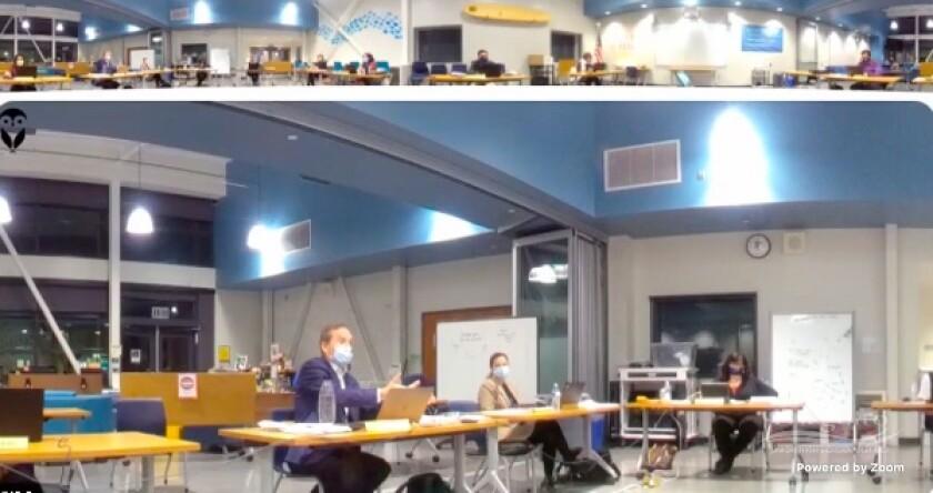 New trustee Michael Allman addresses the board on Dec. 15.