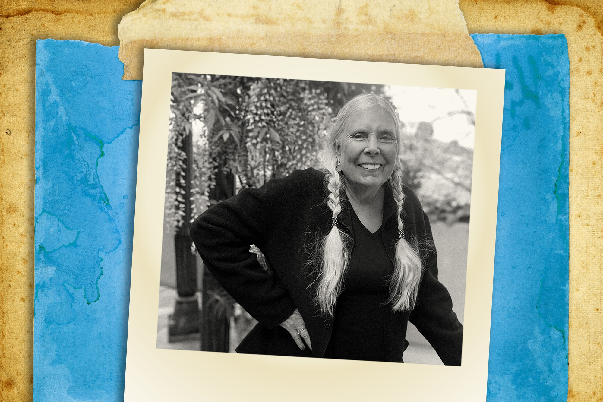 Photo illustration of Joni Mitchell, smiling with her hair in two braids