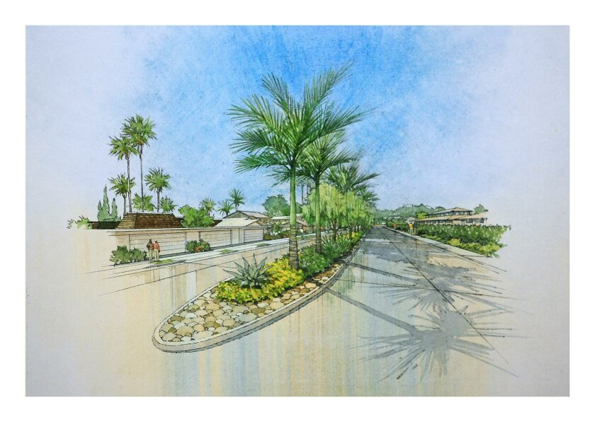 This rendering shows how the new entrance to Whispering Palms would provide a different mix of plants and trees in the median.