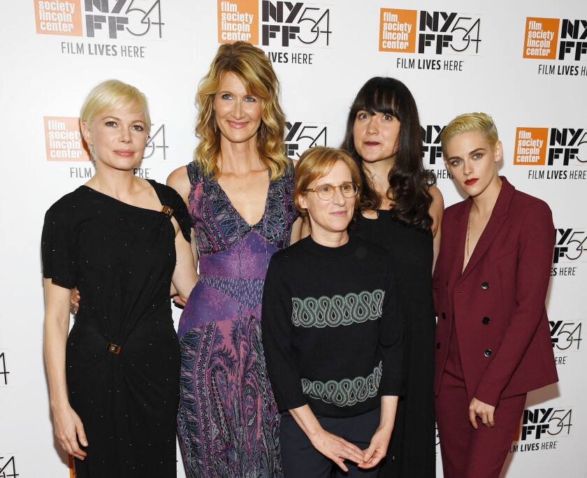 "Director Kelly Reichardt, center, surrounded by actors Michelle Williams, from left, Laura Dern, Lily Gladstone and Kristen Stewart at the ""Certain Women"" premiere at the New York Film Festival."