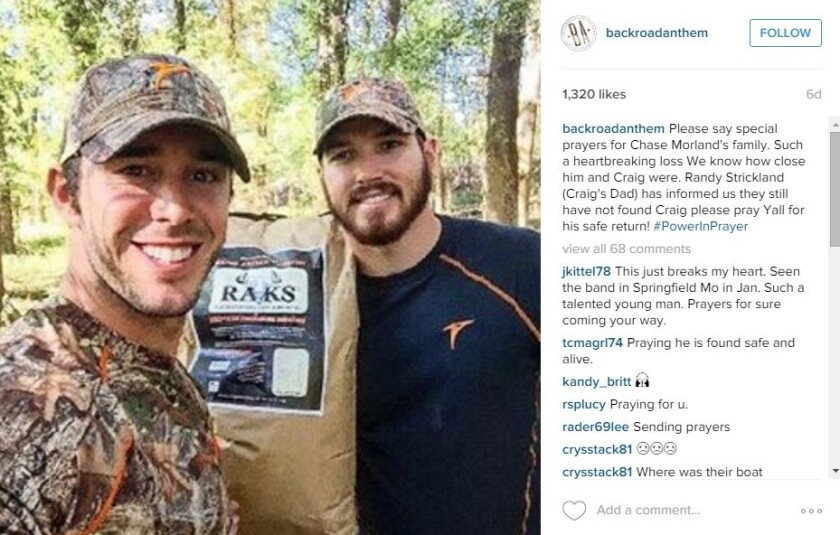 Country singer Craig Strickland (left) and his friend Chase Morland. The two died in rural Oklahoma during a winter storm.