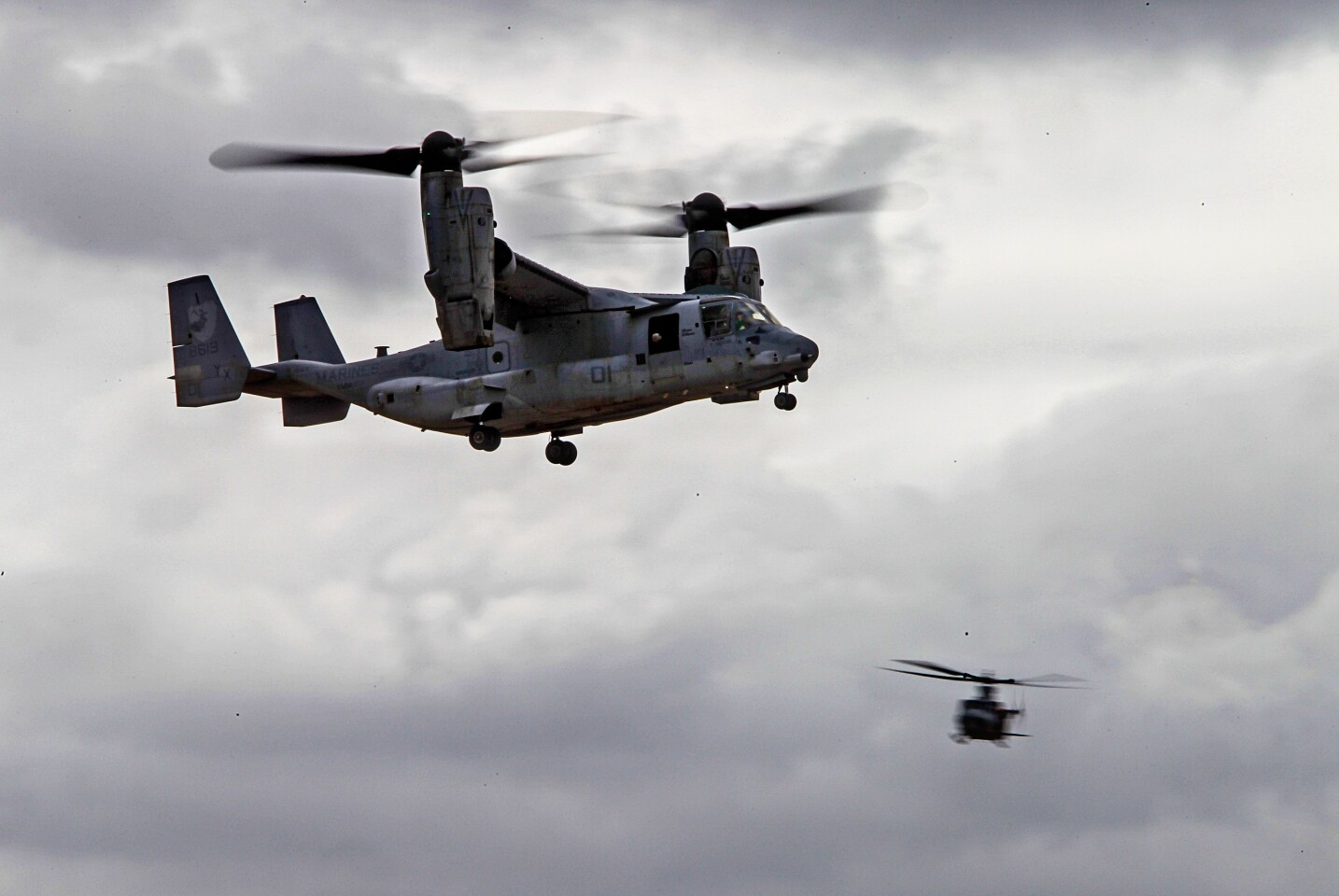 A Marine Corps Osprey MV-22 flies during preview day for the MCAS Miramar Airshow on September 26, 2019 in San Diego, California.