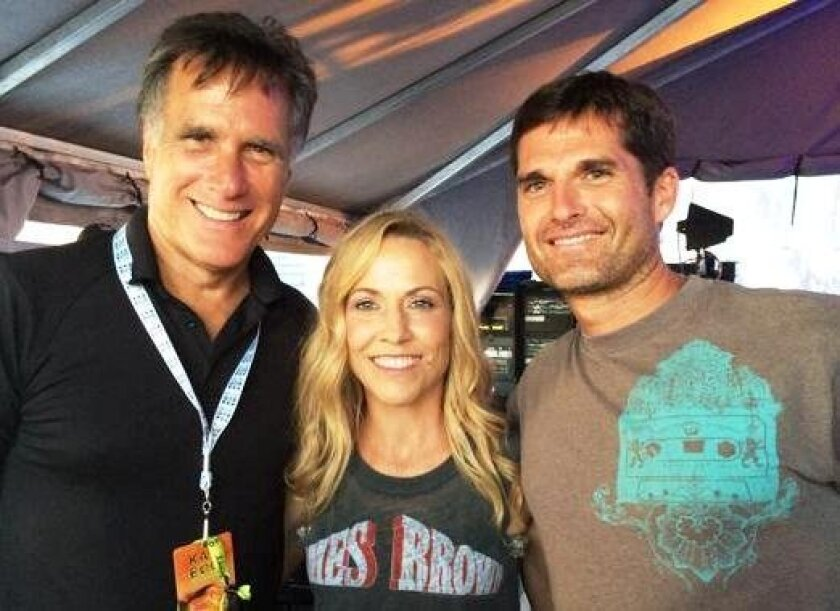Mitt Romney, left, posted this photo on Twitter taken with son, Matt Romney, and Sheryl Crow before her concert at KAABOO Del Mar last weekend.