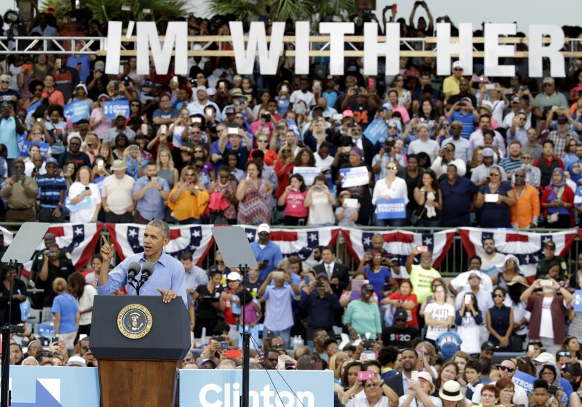 President Obama speaks at a campaign rally for Hillary Clinton in Kissimmee, Fla. on Sunday.