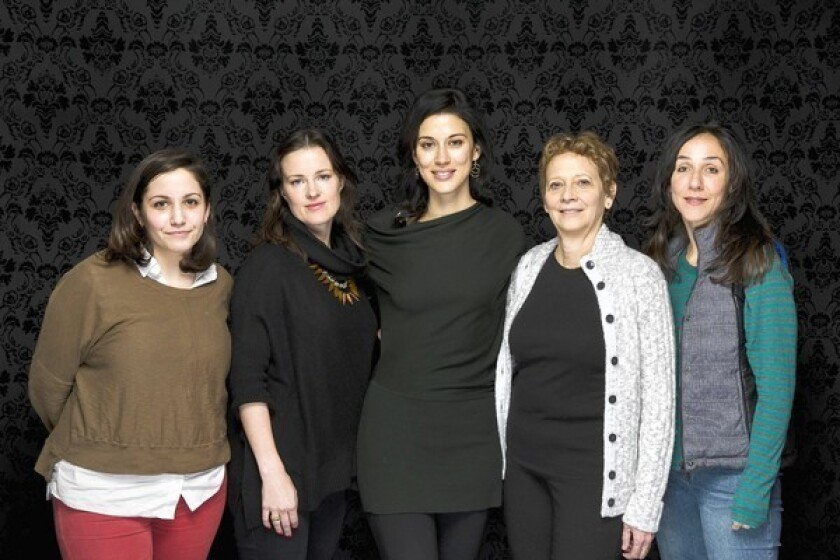Participating in a women's directors roundtable at the Sundance Film Festival are Hannah Fidell, left, LIz Garcia, Cherien Dabis, Naomi Foner and Gabriela Cowperthwaite.