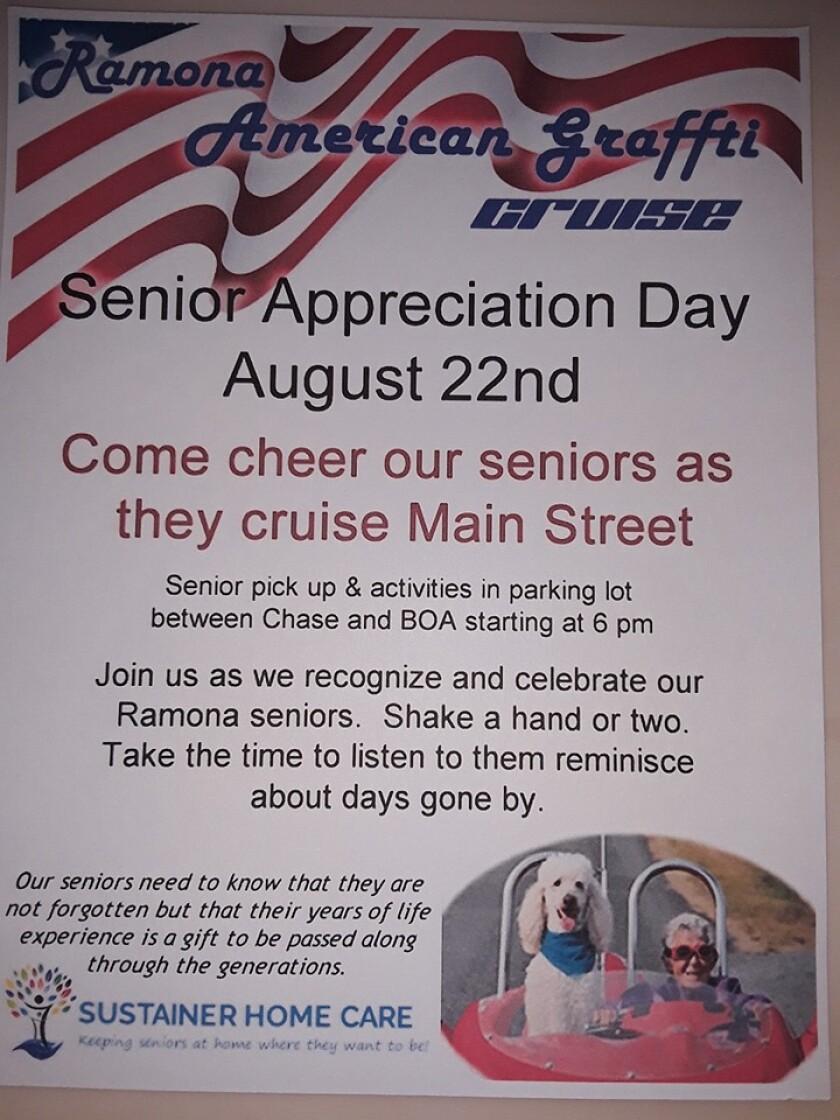 Ramona American Graffiti cruisers invite the community to honor seniors tonight.