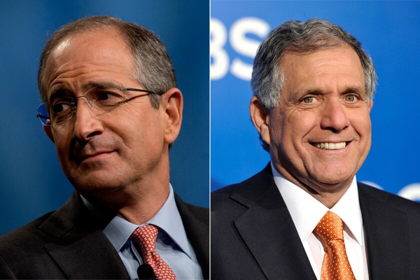 Comcast CEO Brian Roberts, left, and CBS CEO Leslie Moonves.