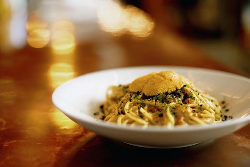 Spaghetti Rustichella with sea urchin, squid ink bottarga, garlic, Calabrian chilies and breadcrumbs at Bestia.