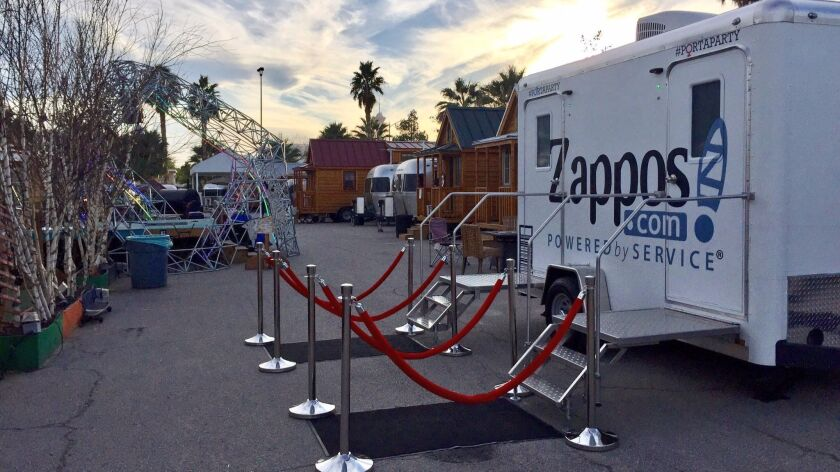 The potty is, as it sounds, a portable bathroom chamber with a party waiting inside. Thanks to Grandesign, it's Zappos contribution to the chaos that is Super Bowl.