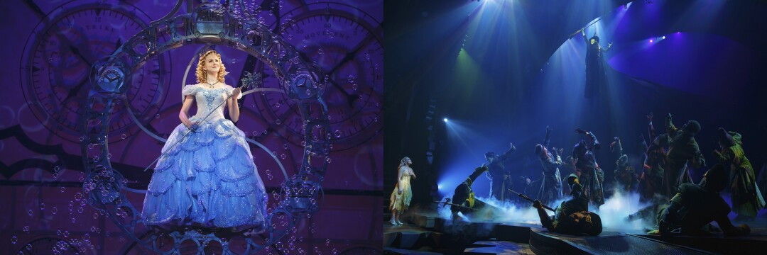 "Ginna Claire Mason as Glinda and, at right, Rachel Tucker as Elphaba, suspended above a crowd, in scenes from ""Wicked."""