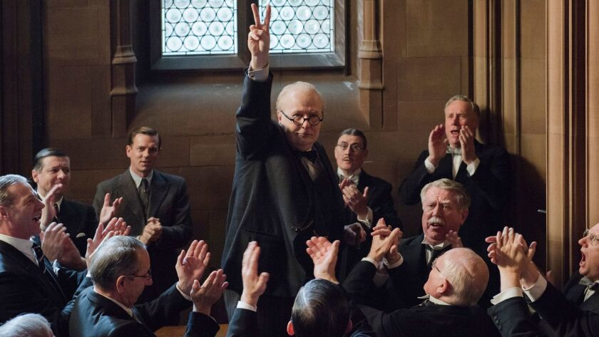 "This image released by Focus Features shows Gary Oldman as Winston Churchill in a scene from ""Darkes"