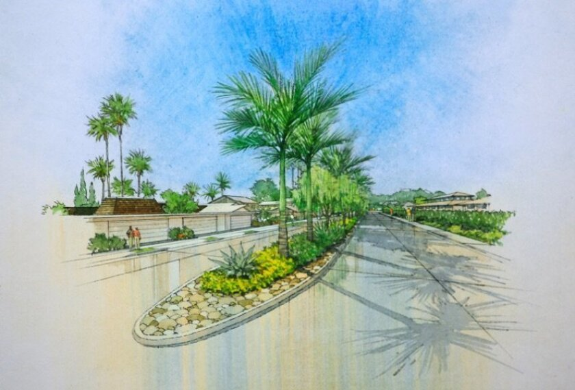 A rendering of the revamped landscaping plan for the Whispering Palms median project.