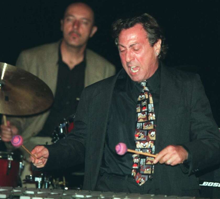 Jazz musician Dave Pike plays the vibraphone in 1998