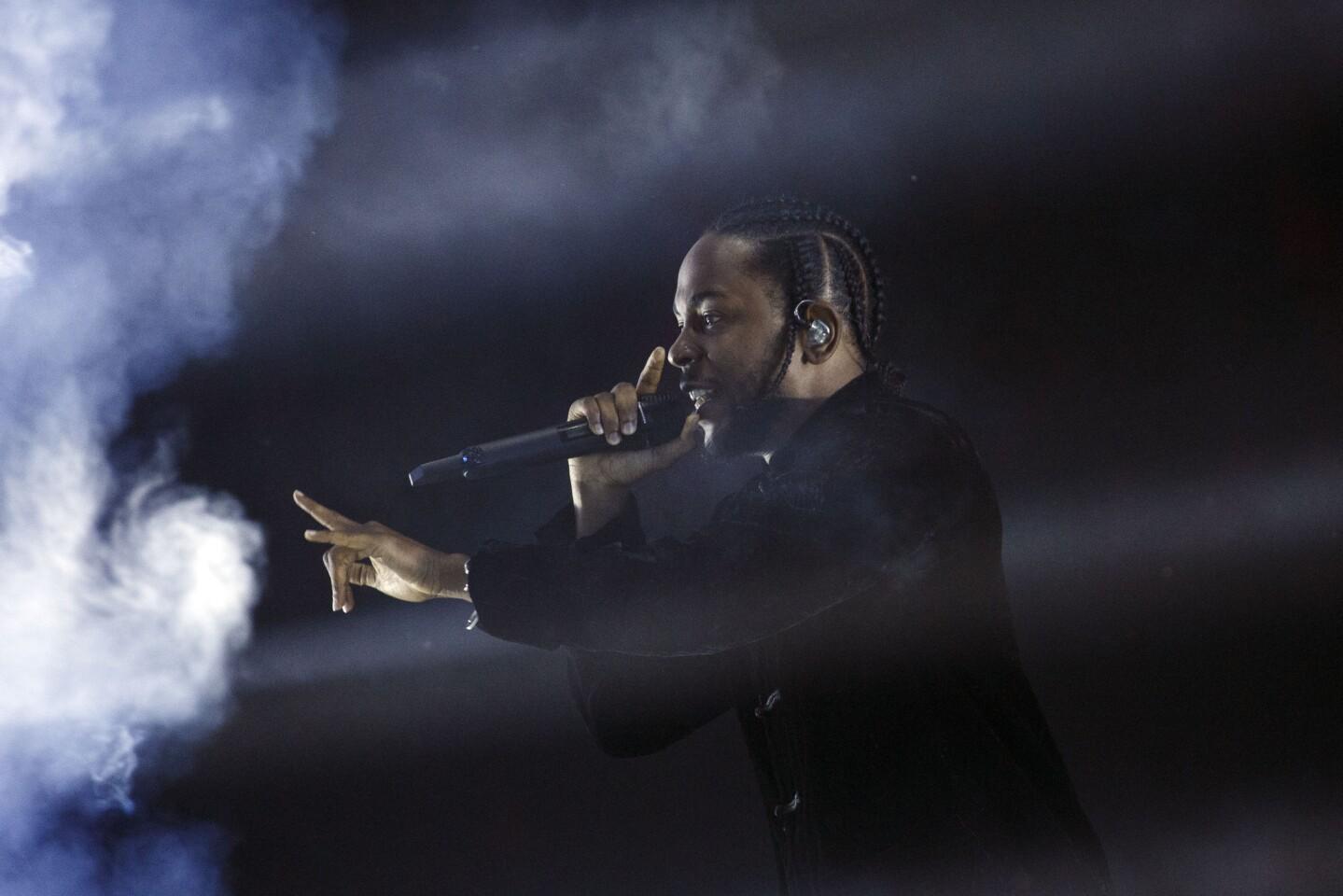 Hip-hop artist Kendrick Lamar performs at Coachella.