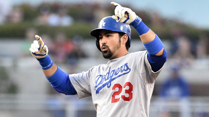 Dodgers first baseman Adrian Gonzalez celebrates after hitting a double against the San Diego Padres in June.