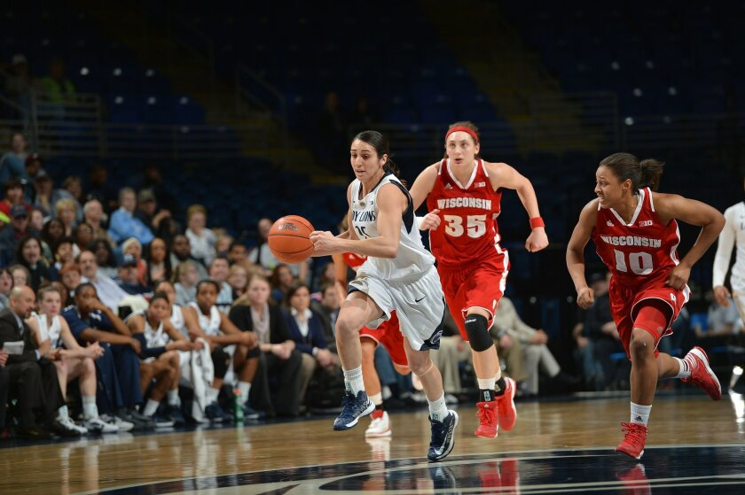 Chula Vista native Gizelle Studevent dribbles away from a pair of Wisconsin defenders while playing for Penn State.