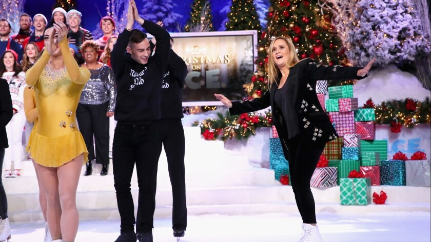 "Adam Rippon, second from left, and Samantha Bee perform during the taping of ""Full Frontal With Samantha Bee Presents Christmas on I.C.E."""