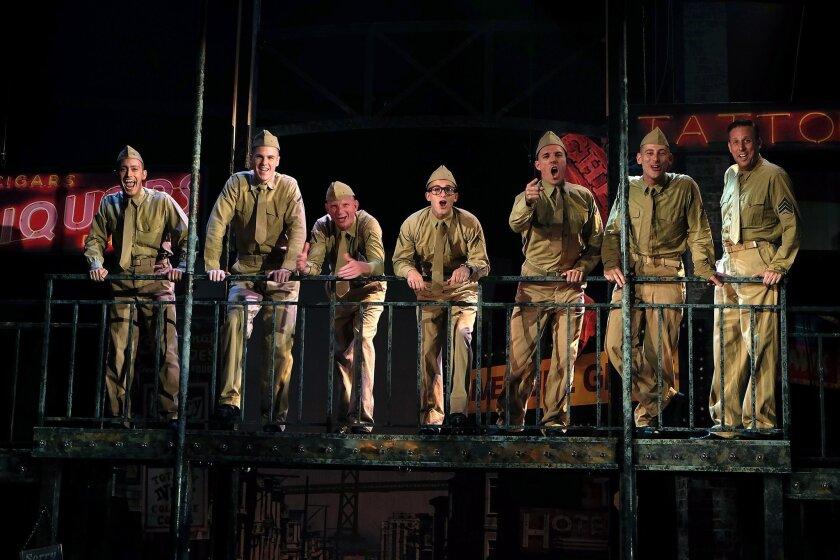 """Charles Evans, Jr., Ben Gibson, Eric Von Metzke, Scott Nickley, Alex Hoeffler, Patrick Osteen and Bryan Charles Feldman in Cygnet Theatre's """"Dogfight."""""""