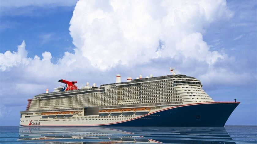 An artist's rendering of Carnival Cruise Line's new XL class of ships. The first one will be named Mardi Gras and is expected to sail in 2020.