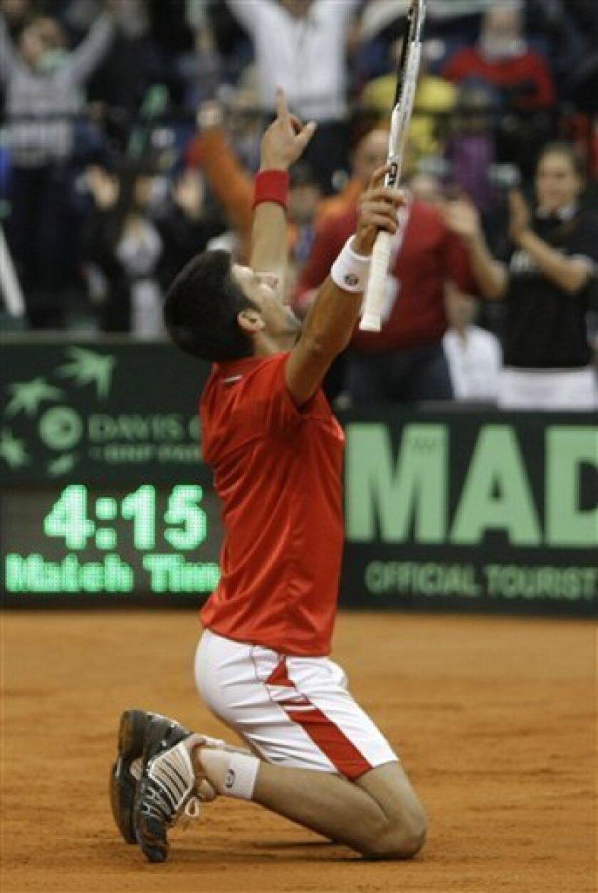 Novak Djokovic of Serbia celebrates victory after a Davis Cup World group first round tennis match against John Isner of USA, in Belgrade, Serbia, Sunday, March 7, 2010. (AP Photo/Darko Vojinovic)