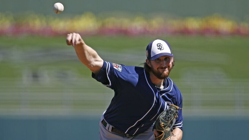 San Diego Padres starting pitcher Bryan Mitchell throws a pitch against the Kansas City Royals durin