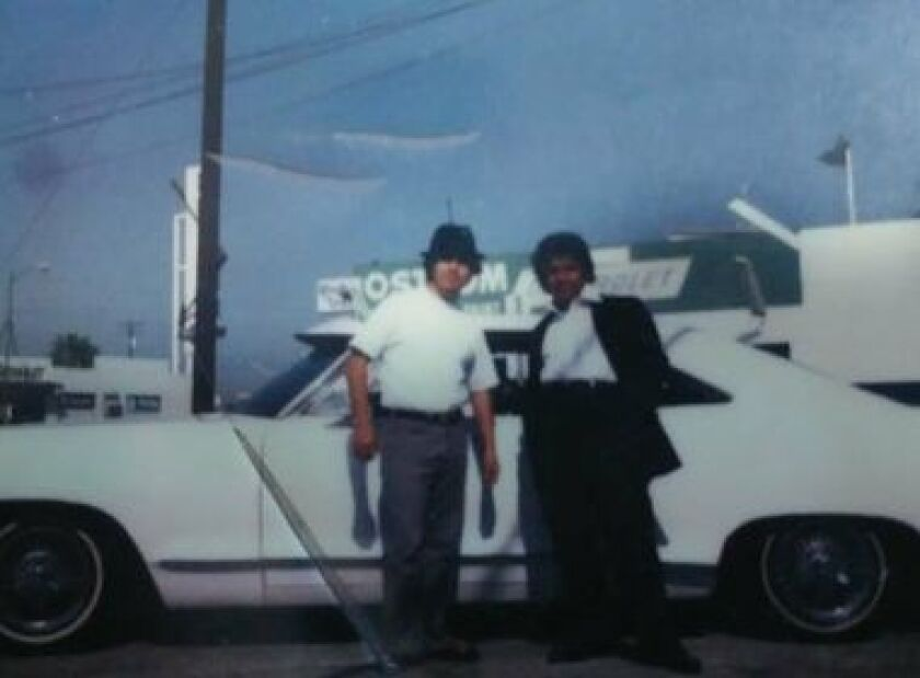 Juan Ramirez's father, left, and a family friend in the late 1970s.