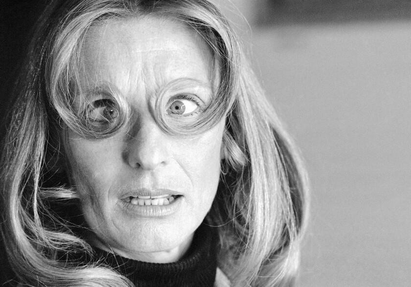 Cloris Leachman with hair around her eyes