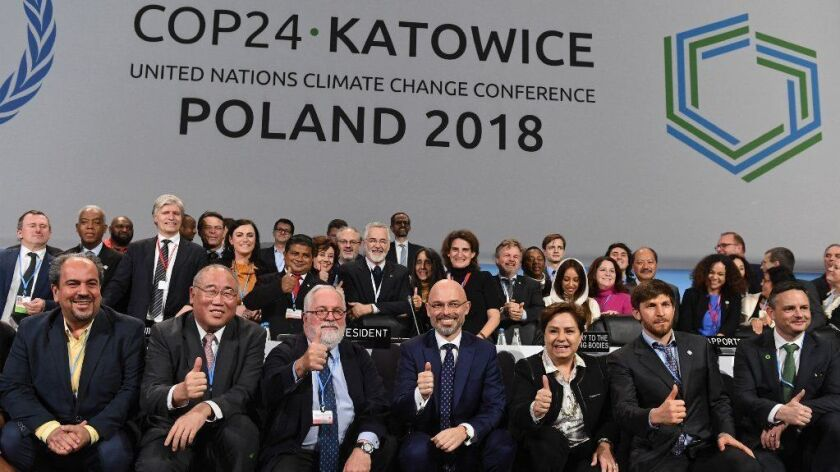 Participants at the closing ceremony of the U.N. climate summit in Katowise, Poland, on Dec. 15.