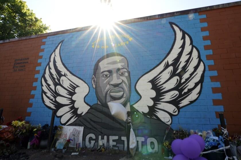 A mural honoring George Floyd in Houston's Third Ward.