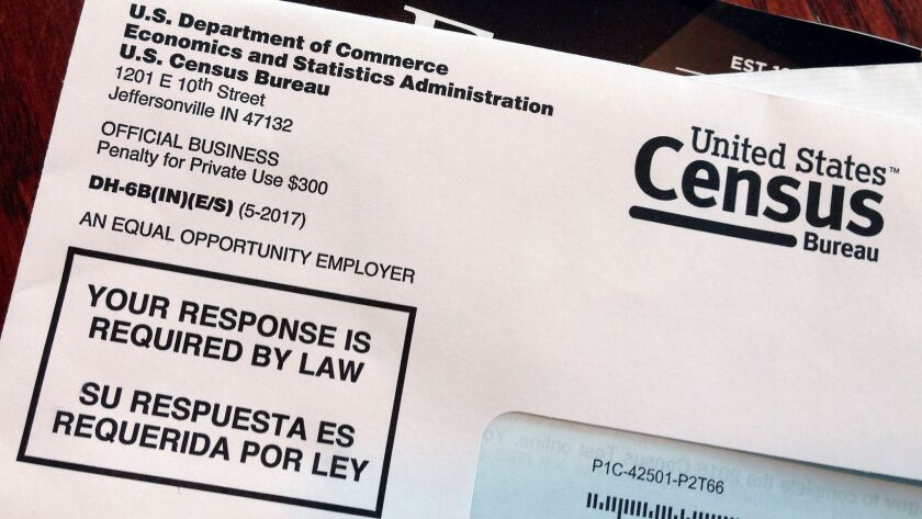 FILE - This March 23, 2018, file photo shows an envelope containing a 2018 census letter mailed to a