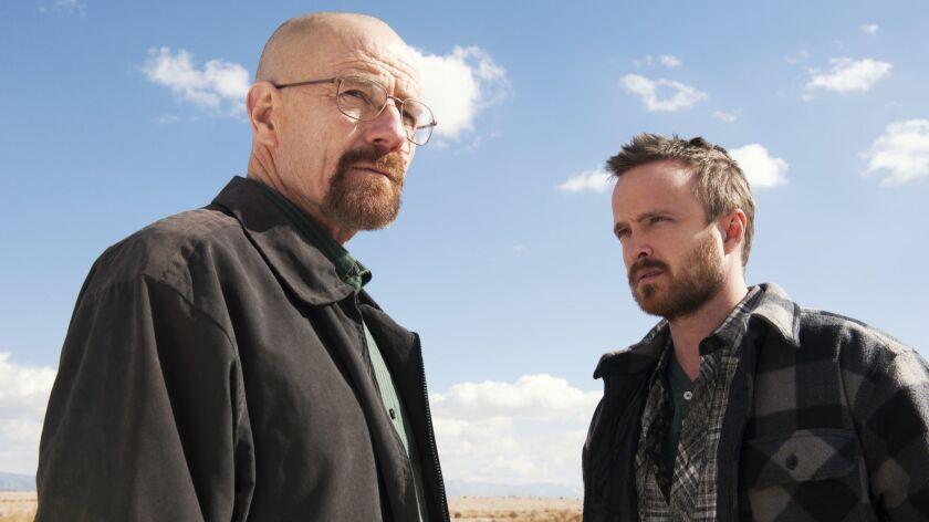 "AMC's ""Breaking Bad"" stars Bryan Cranston, left, and Aaron Paul."