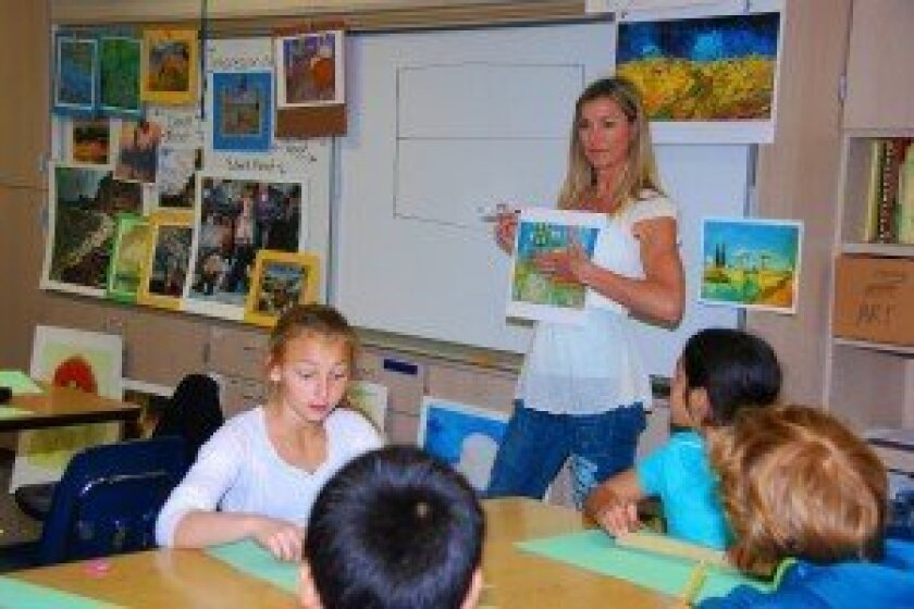 Kelly Patrick, art instructor at Skyline Elementary School, and 5th graders learning about perspective, Van Gogh, and Impressionism.