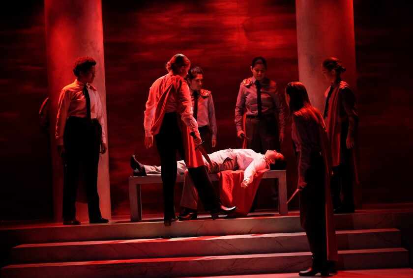 "A scene from the San Diego State University production of ""Julius Caesar."""