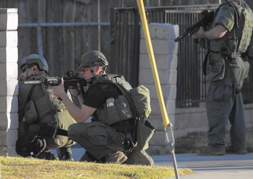 There has been a threefold rise in mass shootings in the U.S. since 2011, a study found. Above, SWAT officers surround a home while searching for suspects in the mass shooting in San Bernardino.