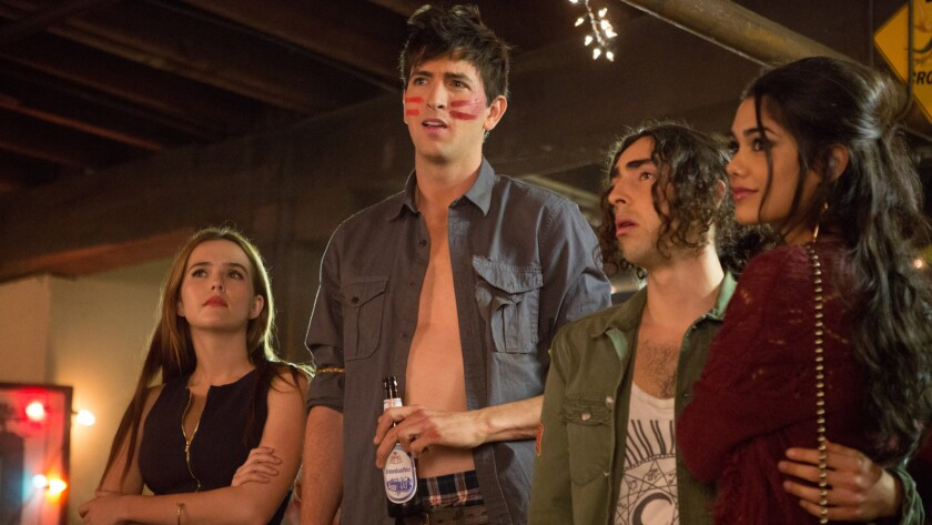 """from left, Zoey Dutch, Nicholas Braun, Mateo Arias, and Tasie Lawrence in the movie """"Good Kids."""""""