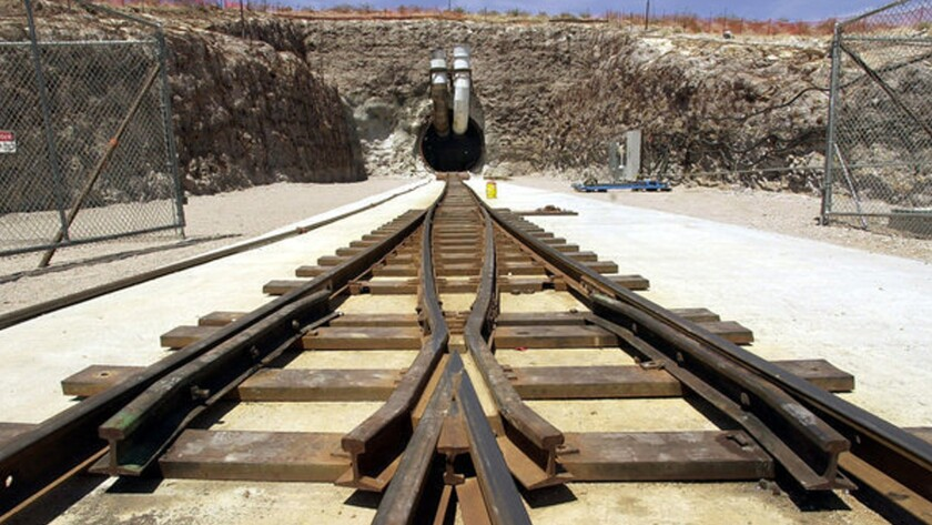 The south portal tunnel entrance of Yucca Mountain, the planned site of a national nuclear waste dump near Mercury, Nev.