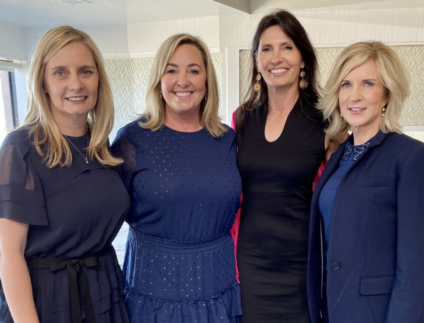 Las Patronas president Kelly Kjos, 2020 Jewel Ball chair Shay Stephens, and 2020 Jewel Ball co-chairs Michelle Parker and Lin Foletta