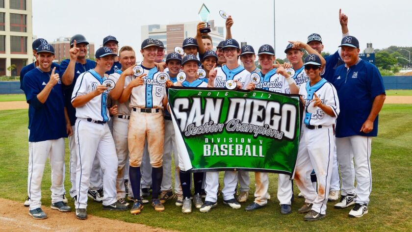 Members of the Maranatha Christian baseball team celebrate their championship on Saturday.